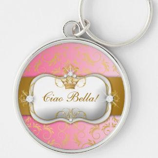 El rosa divino de oro de 311 Ciao Bella se descolo Llavero Redondo Plateado