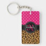 El rosa elegante del estampado leopardo puntea per llaveros