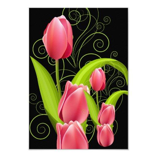 El rosa elegante del melocotón de RSVP florece al Anuncio Personalizado