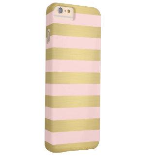 El rosa elegante del oro raya el lujo metálico funda de iPhone 6 plus barely there