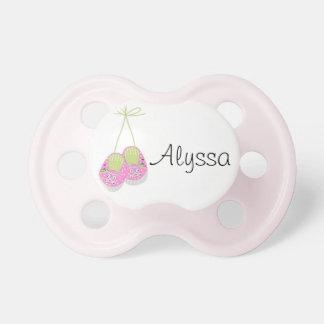 El rosa elegante personalizado calza el pacificado chupetes para bebés