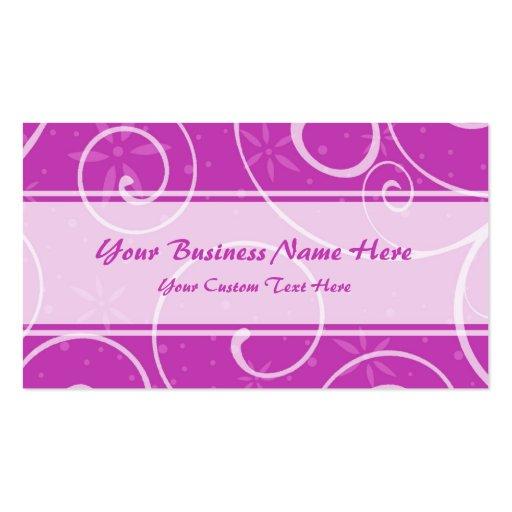 El rosa elegante remolina las tarjetas de visita