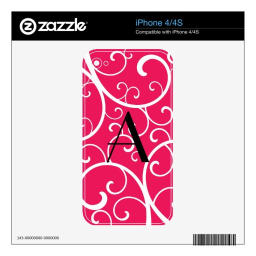 El rosa elegante remolina monograma iPhone 4 skin