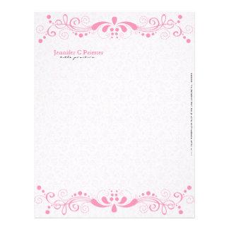 El rosa en colores pastel elegante entona el cordó membretes personalizados