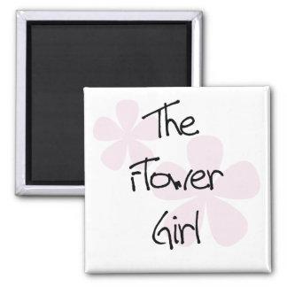 El rosa en colores pastel florece al florista imán cuadrado
