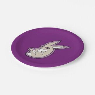 El rosa feliz del conejo de la lavanda observa plato de papel de 7 pulgadas