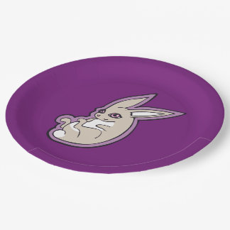 El rosa feliz del conejo de la lavanda observa plato de papel de 9 pulgadas
