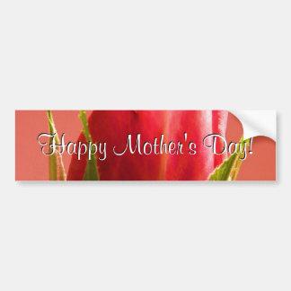 El rosa feliz del día de madre subió I Pegatina De Parachoque