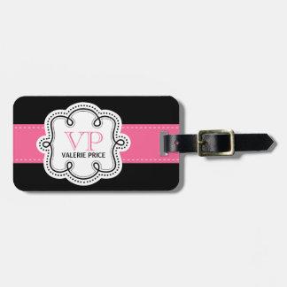 El rosa femenino cosió el bolso personalizado cint etiqueta de equipaje