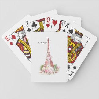 El rosa femenino del vintage florece la torre baraja de cartas
