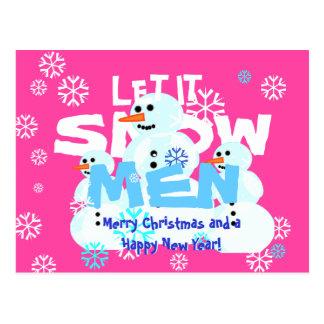 El rosa femenino divertido lo dejó nevar los tarjetas postales