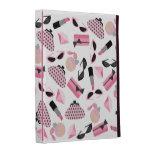 El rosa femenino folio del iPad compone y de los a