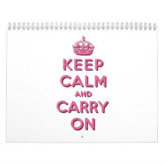 El rosa femenino guarda calma y continúa calendarios de pared