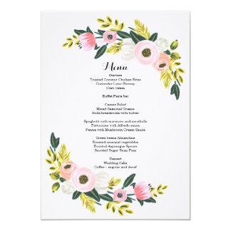 """El rosa floral de la tarjeta del menú de la cena invitación 5"""" x 7"""""""