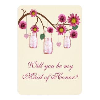 El rosa florece a la criada de tarros de albañil invitación 12,7 x 17,8 cm