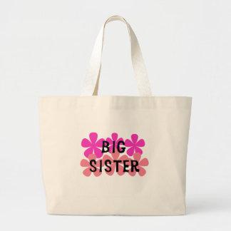 El rosa florece a la hermana grande bolsa tela grande
