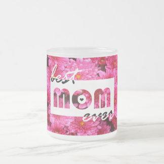 El rosa florece a la mejor mamá nunca taza de cristal