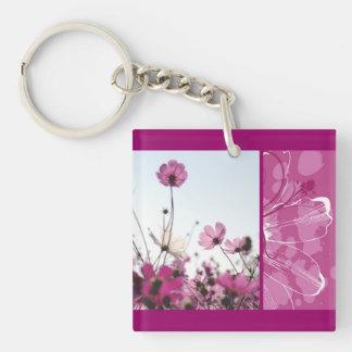El rosa florece al diseñador floral de la naturale llavero cuadrado acrílico a una cara