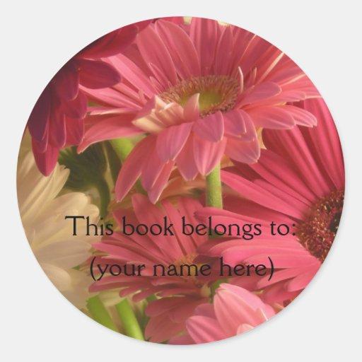 El rosa florece bookplate pegatina redonda