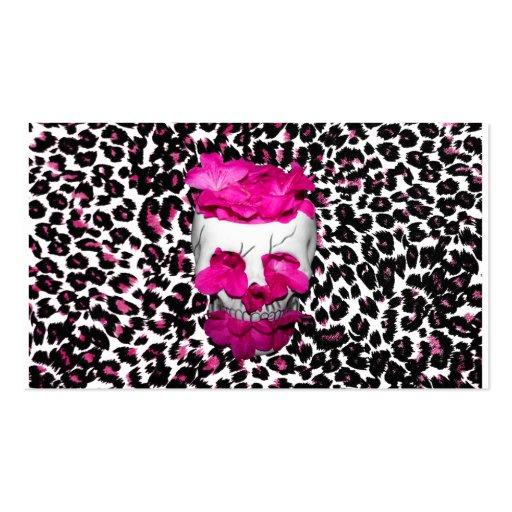 El rosa florece el cráneo en puntos rosados del le tarjetas de visita