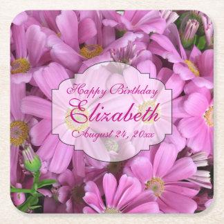 El rosa florece femenino personalizado posavasos personalizable cuadrado