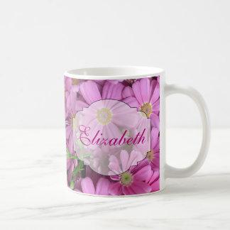 El rosa florece femenino personalizado taza