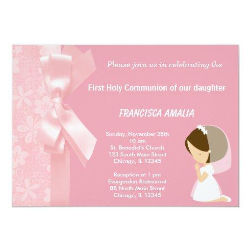 El rosa florece la comunión santa invitación 12,7 x 17,8 cm