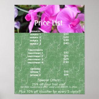 El rosa florece la lista de precios de los servici poster