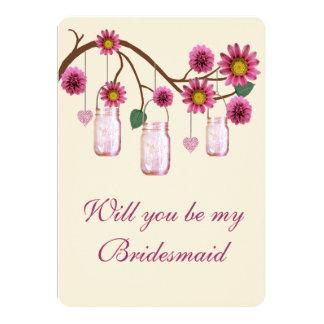 El rosa florece la tarjeta de la dama de honor de comunicados personales