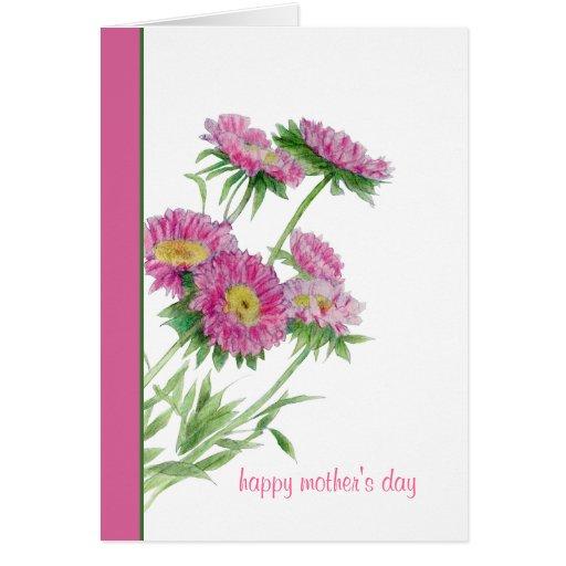 El rosa florece la tarjeta del día de madre