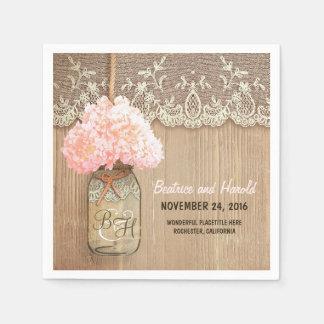 el rosa florece las servilletas de papel rústicas