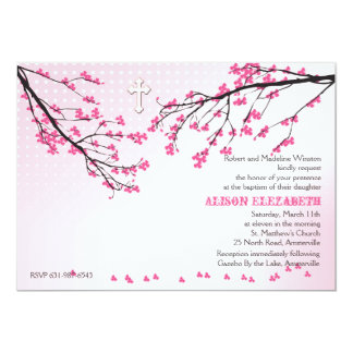 El rosa floreciente ramifica invitación