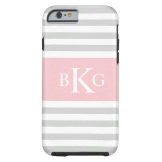 El rosa gris claro raya el monograma funda de iPhone 6 tough