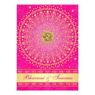 El rosa hindú de Ganesh el casarse de las volutas