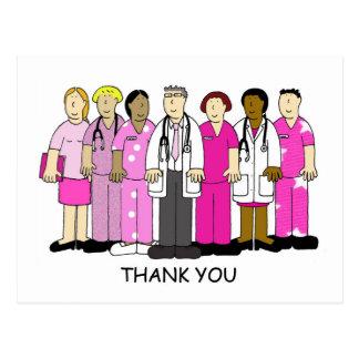 El rosa le agradece al equipo médico del cáncer de postal