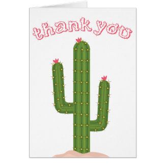 El rosa le agradece cactus verde tarjeta pequeña