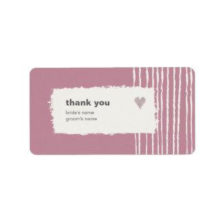 El rosa le agradece pegatina del regalo etiqueta de dirección