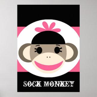 El rosa lindo del negro del mono del calcetín del póster