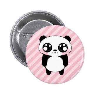 El rosa lindo del oso de panda raya el fondo pin redondo de 2 pulgadas