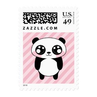 El rosa lindo del oso de panda raya el fondo sello