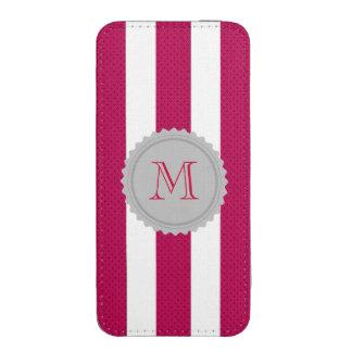 El rosa lindo femenino doted monograma de las bolsillo para iPhone