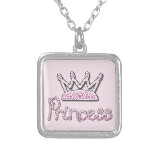 El rosa lindo impreso gotea a princesa Crown Colgante Cuadrado