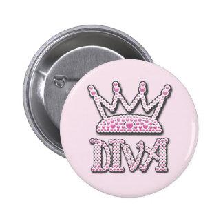 El rosa lindo impreso gotea a princesa Crown de la Pin Redondo De 2 Pulgadas