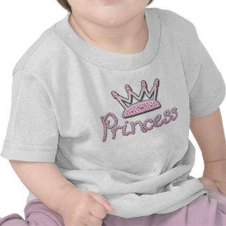 El rosa lindo impreso gotea a princesa Crown Camisetas
