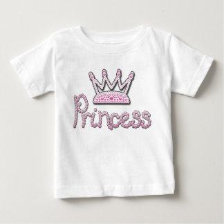 El rosa lindo impreso gotea a princesa Crown Playera De Bebé
