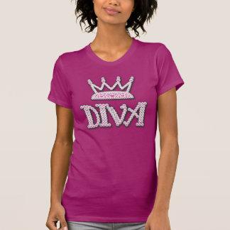 El rosa lindo impreso gotea la corona de la diva camisetas