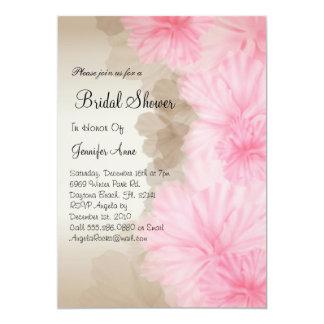 El rosa lindo y la ducha nupcial floral de Brown Invitación 12,7 X 17,8 Cm