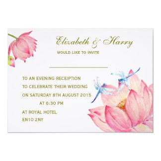 El rosa Lotus de la invitación del boda y el