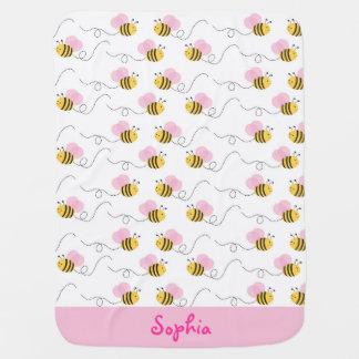El rosa manosea la manta del bebé de la abeja mantita para bebé