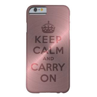 El rosa metálico guarda calma y continúa funda para iPhone 6 barely there
